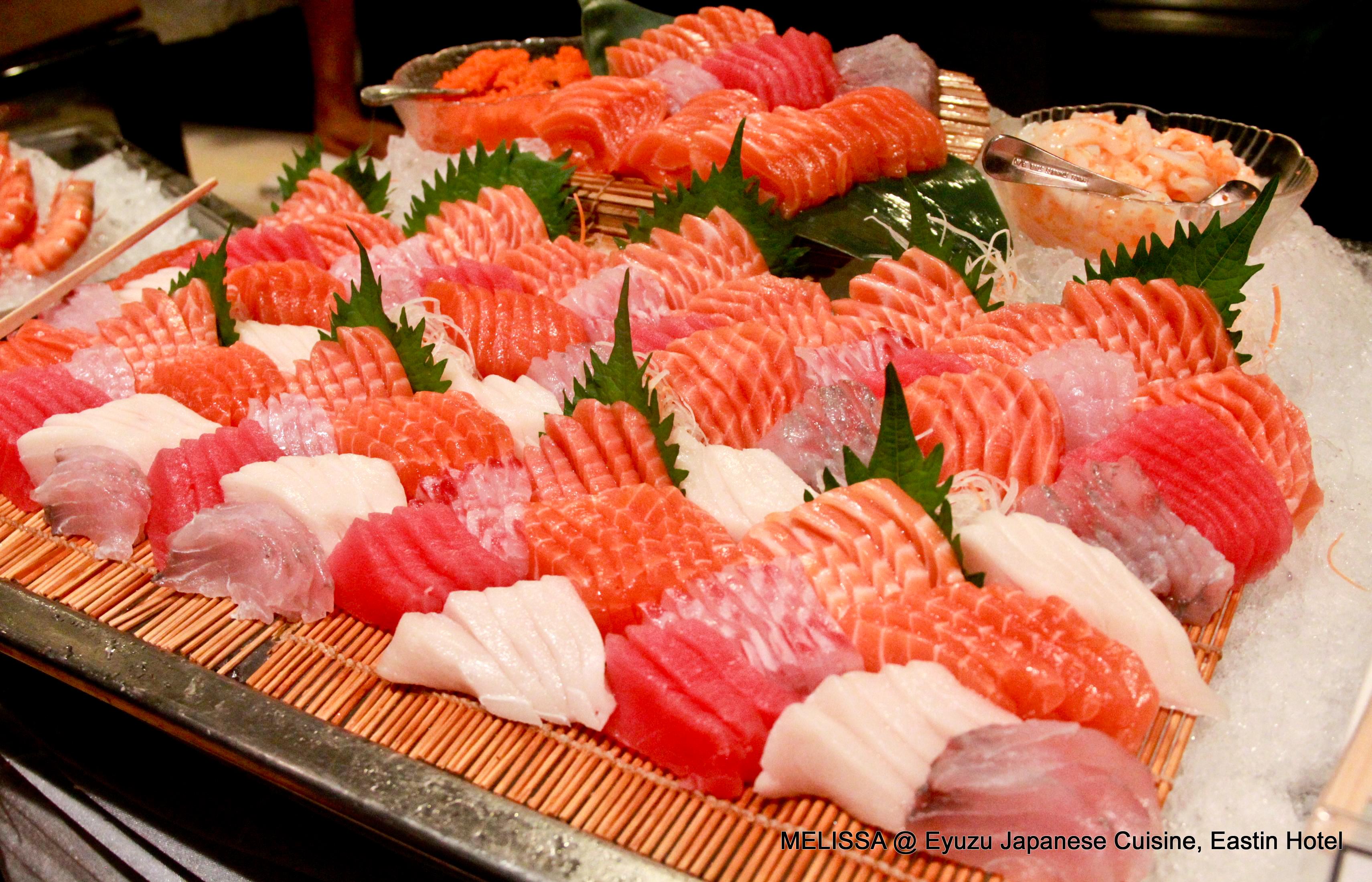 Buffet dinner eyuzu japanese cuisine eastin hotel for Best sashimi fish